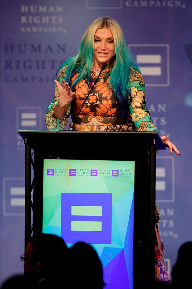 Kesha, the recipient of the Visibility award, speaks at the 21st Annual HRC Nashville Equality Dinner at the Renaissance Hotel on Saturday, March 5, 2016, in Nashville, Tenn. (Photo by Wade Payne/Invision/AP)