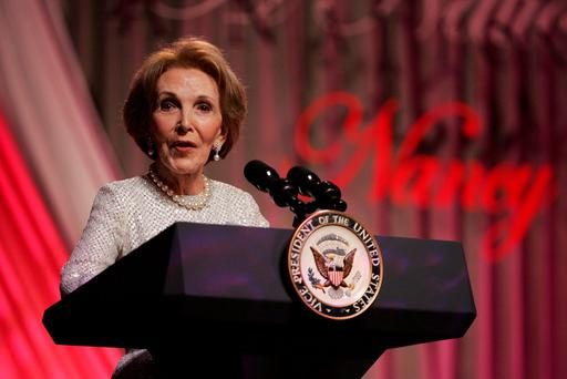 Former First Lady Nancy Reagan speaks at the end of the