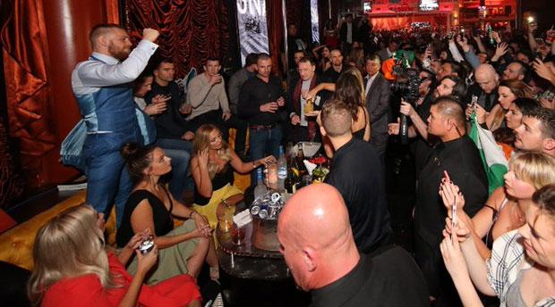Conor McGregor gestures to fans at Surrender nightclub, Las Vegas, following his defeat at UFC 196 to Nate Diaz. Picture credit: Twitter/@DanStupp