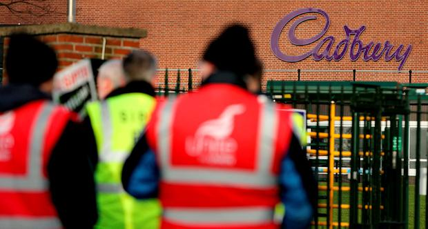 The strike at the chocolate manufacturer's plant in Coolock, north Dublin, by members of the Unite and Siptu trade unions came to a temporary halt on Friday night following two days of pickets. Photo: Gerry Mooney