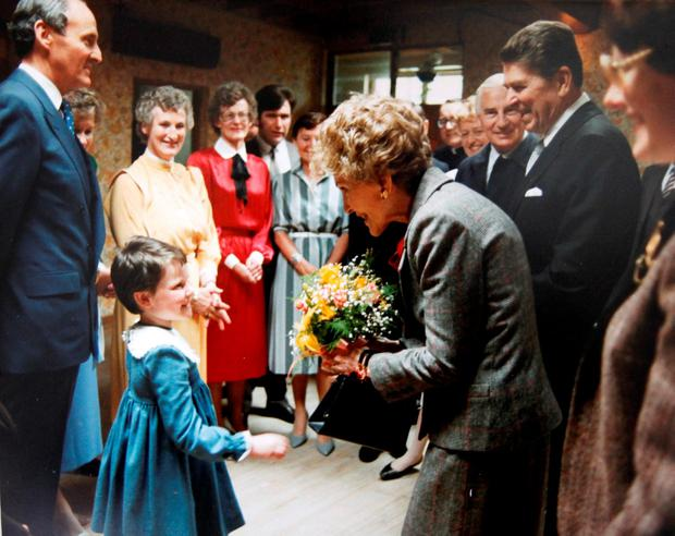Nancy and Ronald Reagan on their visit to Ballyporeen, Co Tipperary, in 1984. Photo: Don Moloney