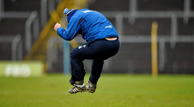 Waterford manager Derek McGrath shows his delight at the final whistle after victory over Tipperary in their Allianz NHL Division 1A clash Photo: Matt Browne / SPORTSFILE