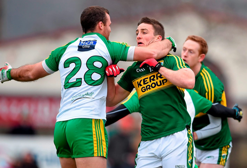 Neil McGee tussles with Stephen O'Brien Photo: Brendan Moran / SPORTSFILE