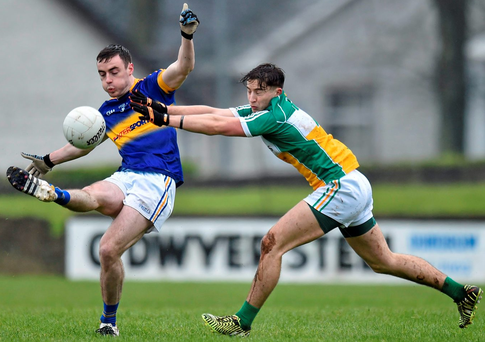 Tipperary's Alan Campbell in action against Offaly's Joey O'Connor during their Allianz NFL Division 3 clash in Tipperary town Photo: Matt Browne / SPORTSFILE
