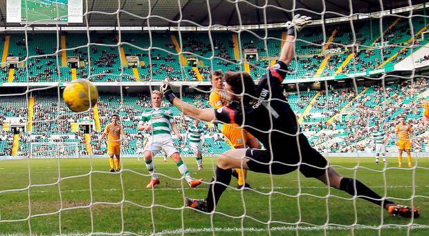 Celtic's Gary Mackay-Steven scores his sides second goal Photo: PA