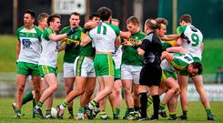 Players from both sides get involved in an altercation during the first half. Allianz Football League, Division 1, Round 4, Kerry v Donegal. Austin Stack Park, Tralee, Co. Kerry. Picture credit: Brendan Moran / SPORTSFILE