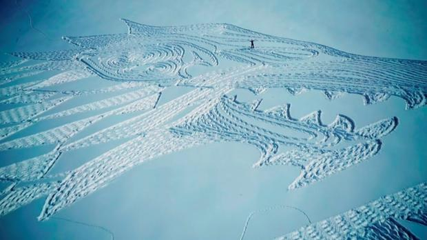 Sky Atlantic handout photo of a tribute to hit TV series Game of Thrones created by artist Simon Beck who walked for 13 hours in the French Alps. Sky Atlantic/PA Wire