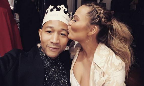 John Legend and Chrissy Teigen at their baby shower. Picture: Instagram