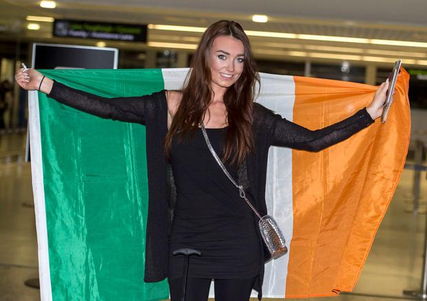 Miss Bikini Ireland 2015 Rebecca Hanley at Dublin Airport