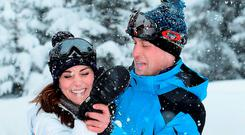The Duke and Duchess of Cambridge with their children, Princess Charlotte and Princess George, enjoy a short private break skiing in the French Alps. Picture: John Stillwell/PA Wire