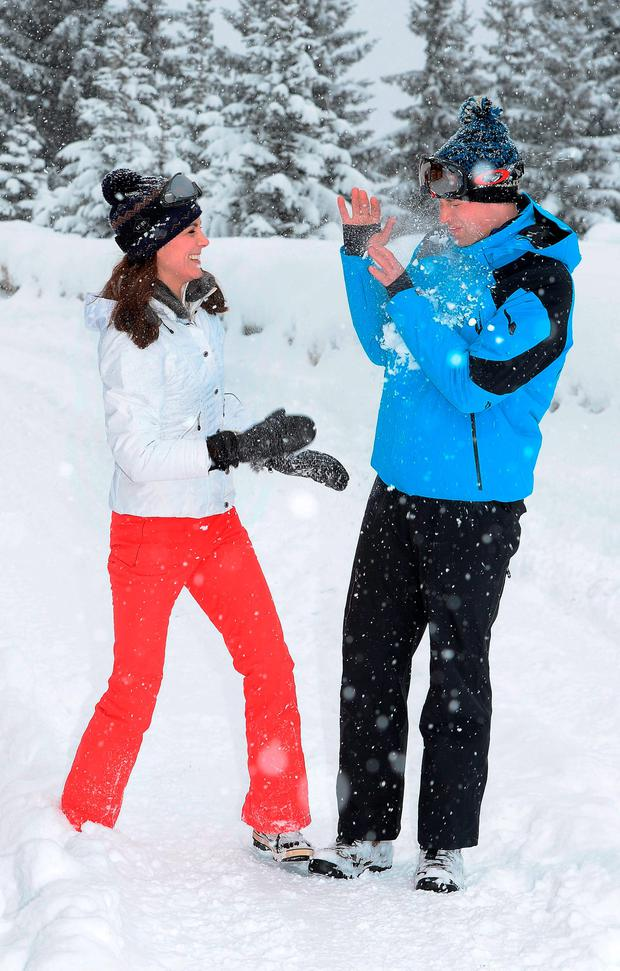 The Duke and Duchess of Cambridge after she threw a snowball at him during a short private break skiing in the French Alps. PRESS ASSOCIATION Photo. Picture date: Thursday March 3, 2016. See PA story ROYAL Cambridges. Photo credit should read: John Stillwell/PA Wire