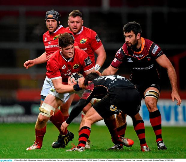 Jack O'Donoghue was in action for Munster against the Dragons over the weekend