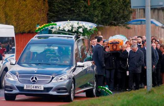 The funeral of Patrick McDonnell in the Lagmore Drive area of Belfast which was disrupted by an alert ( Photo by Kevin Scott / Belfast Telegraph)