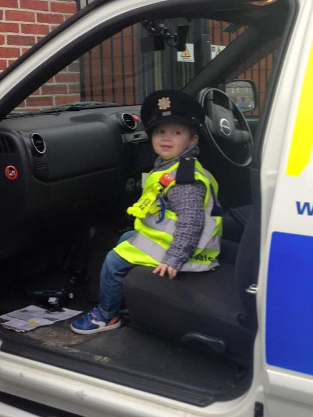 Ceejay McArdle (3) from Co. Monoghan was made an honorary guard last year during a ceremony held in Dublin's Garda HQ but this week