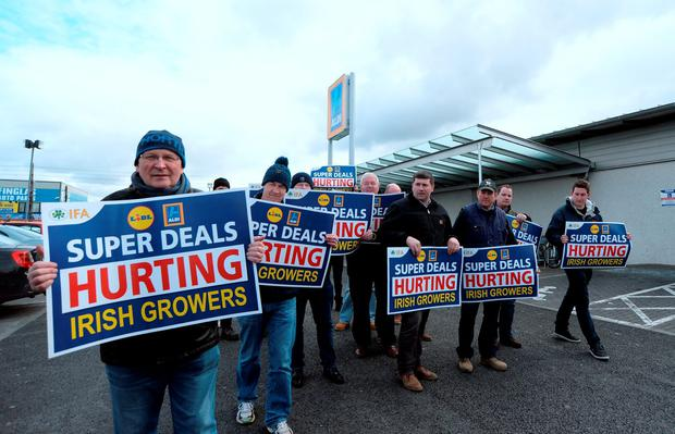 The IFA held a protest in Dublin to highlight what they claim is below-cost selling of Irish produce by German discount stores. Photo: Caroline Quinn