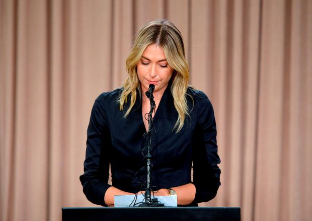 Tennis player Maria Sharapova addresses the media regarding a failed drug test at The LA Hotel Downtown on March 7, 2016 in Los Angeles, California. (Photo by Kevork Djansezian/Getty Images)