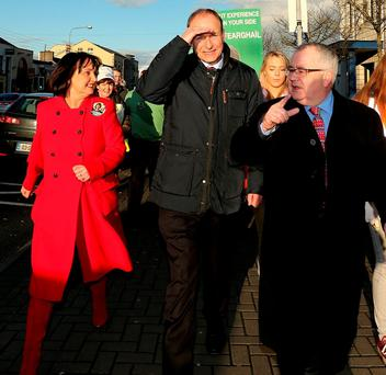 Fianna Fáil leader Micheál Martin (centre) on the canvass with local candiates Fiona O'Loughlin and Sean Ó Fearghaíl in Newbridge, Co Kildare. Photo: Gerry Mooney
