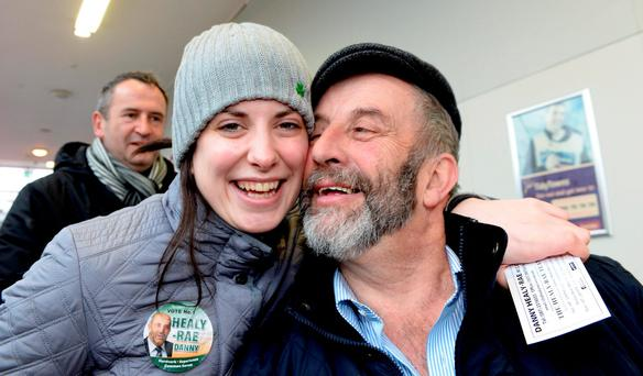 Maura Healy-Rae campaigning with her father Danny in Kerry last month. Photo: Don MacMonagle