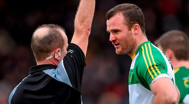 Donegal defender Neil McGee anxiously waits to hear if there will be disciplinary action for his role in the incident which led to Kerry's Alan Fitzgerald being sent off. Photo: Brendan Moran / Sportsfile