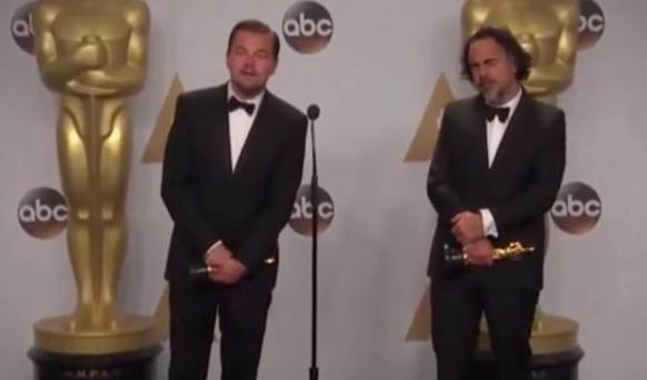 Leonardo DiCaprio and The Revenant director Alejandro González Iñárritu in the press room at the Oscars 2016