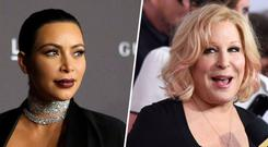 Kim Kardashian has lashed out at Bette Midler in a fiery Twitter rant.