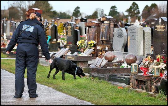 The Garda dog unit near the plot where Vinny Ryan will be buried alongside his brother at Fingal cemetery.