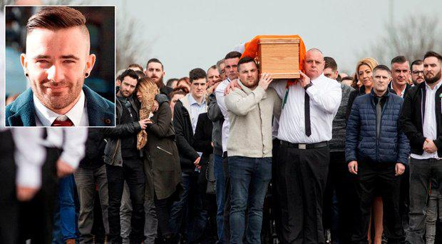 Mourners at the funeral of Vinny Ryan, inset