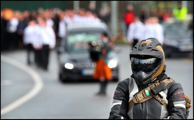 The funeral of Vinny Ryan arriving at The Church of The Trinity at Donaghmede