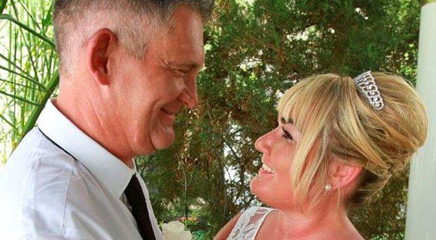 David Edwards, left, was stabbed by his wife Sharon, right, jurors were told