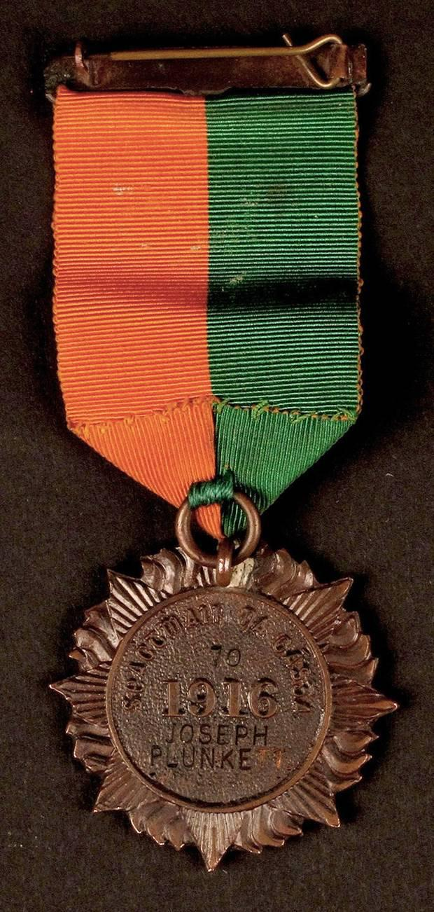 1916 Rising medal sent to the wife of Joseph Plunkett.