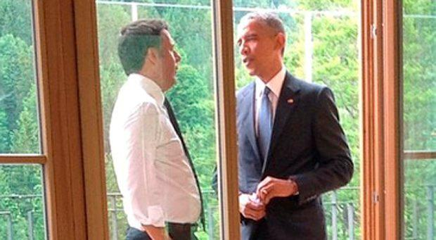 A photo posted by a spokesman for Matteo Renzi showing the Italian Prime Minster with Barack Obama at the G7