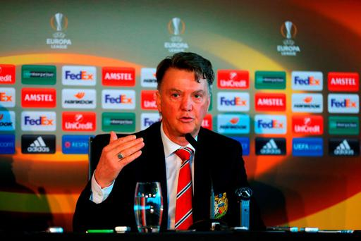 Louis van Gaal, manager of Manchester Uniited speaks during a press conference ahead of the UEFA Europa League round of 16 first leg match between Liverpool and Manchester United