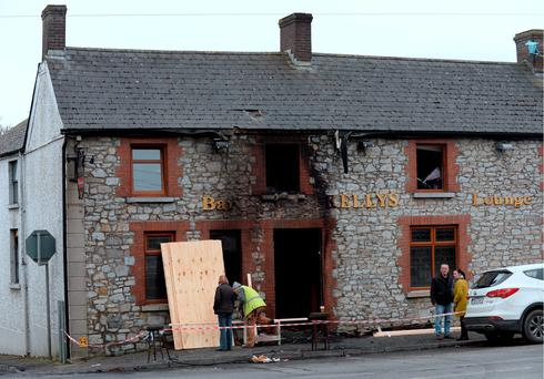 General view of fire-damaged Kelly's Bar. Duleek, Co. Meath. Picture: Caroline Quinn