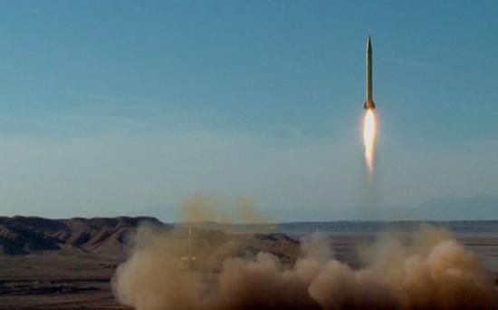 A ballistic missile is launched and tested in an undisclosed location in Iran Credit: Sepahnews.com (REUTERS)