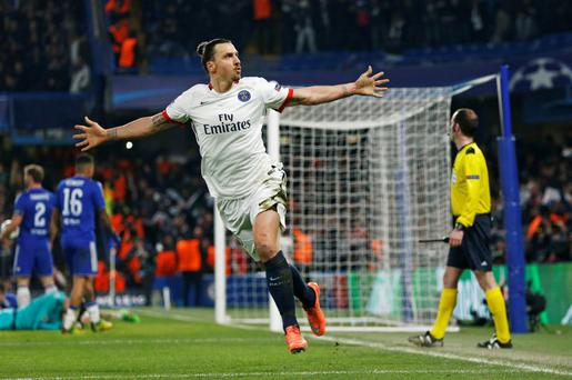 Zlatan Ibrahimovic celebrates after scoring the second goal for PSG