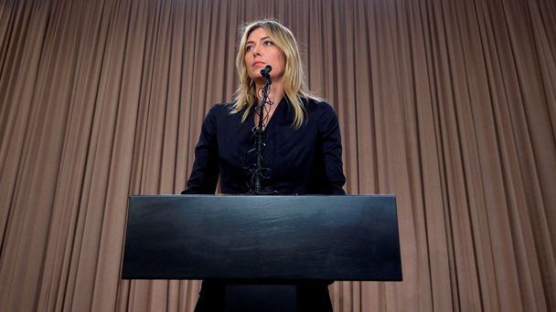 Maria Sharapova at Monday's press conference (Kevork Djansezian/Getty Images)