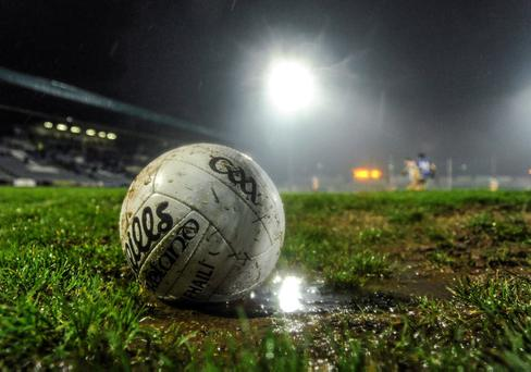 8 January 2014; A match ball sits during a wet night in Laois. Bord na Mona O'Byrne Cup, Group A, Round 2, Laois v Offaly, O'Moore Park, Portlaoise, Co. Laois. Picture credit: Ramsey Cardy / SPORTSFILE