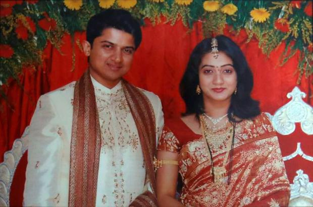 Praveen and Savita Halappanavar on their wedding day (Reuters)