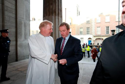 Enda Kenny at St Anne's church this morning