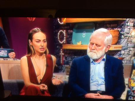 Daniella Moyles with John Sheahan from The Dubliners on the Seven O'Clock Show