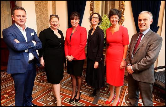 Pictured at the Womens Executive Network Dublin Breakfast at the Westin Hotel was from left, John Whelan (Partner and Head of International Technology Practice A&L Goodbody), Dearbhail McDonald (Group Business Editor IN&M), Sherri Stevens CEO WXN, Fionnuala Meehan (Managing Director SMB Sales for North and Central Europe , Google Irl), Pamela Jeffery WXN Founder and Kevin Sweeney (CIO , CPL Resources plc). Pic Steve Humphreys 10th March 2016.