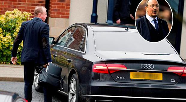 Steve McClaren arrives for Newcastle training today but Rafa Benitez is heavily linked with the club