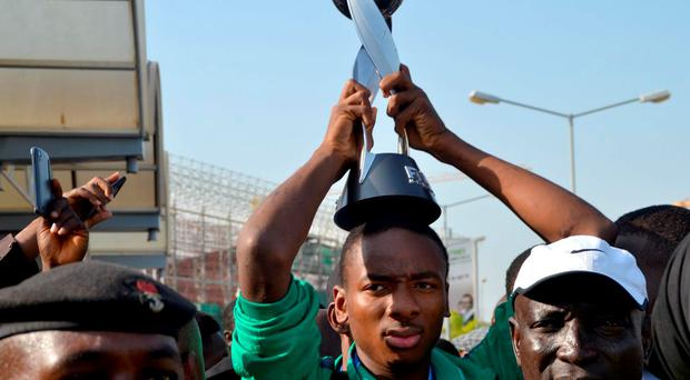 Kelechi Nwakali holds the Under-17 World Cup after guiding Nigeria to the cup last year Getty Images