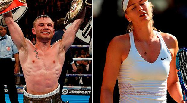 Carl Frampton and (right) Maria Sharapova