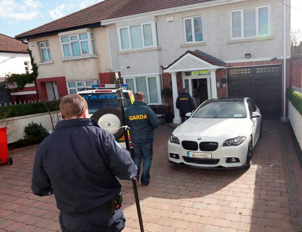 Gardai at the home of Jonathan Dowdall earlier today