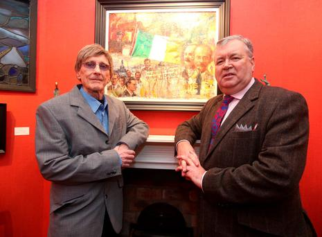 Artist, Norman Teeling, with Joe Duffy, RTE broadcaster and author at the opening of The Rising, an exhibition of paintings by Norman at the Oriel Gallery on Clare Street. Picture credit; Damien Eagers