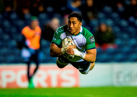 Bundee Aki dives over to score Connacht's third try against Edinburgh at Murrayfield