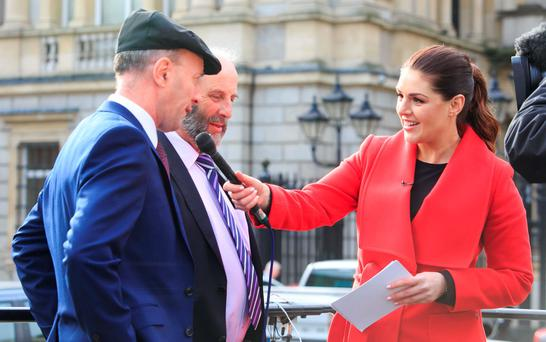 Sile Seoige speaks to Michael Healy Rae and Danny Healy Rae at Leinster House. Photo: Gareth Chaney/Collins