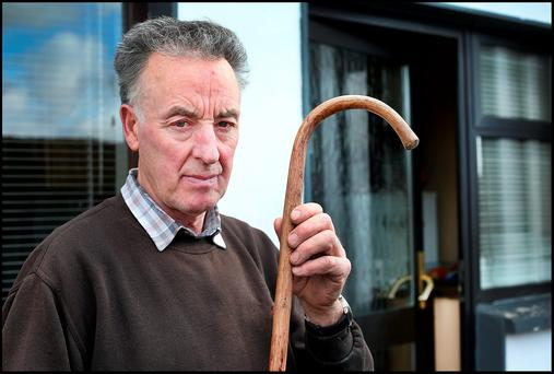 Derek Carroll shows the walking stick his father Johnny was beaten with at his rural home. . Photo: Steve Humphreys