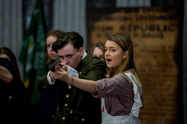 Students of Malahide community school James Clegg (Thomas McDonagh) and Chelsea Warren (playing Elizabeth O'Farrell) during rehearsals for their 1916 proclamation school play at Malahide community school. Photo: Mark Condren